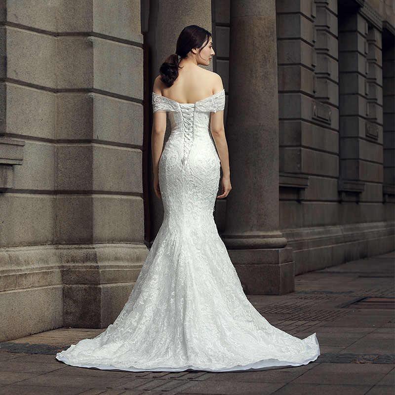 J66581 jancember vestido de noiva sereia beading off the shoulder lace up barco pescoço plissado sereia vestidos de casamento платье свадебное