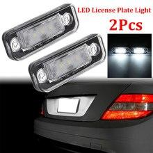 2 pces 12v 3w led número da placa de licença lâmpada luz canbus nenhum erro para mercedes benz w203 5d w211 w219 r171