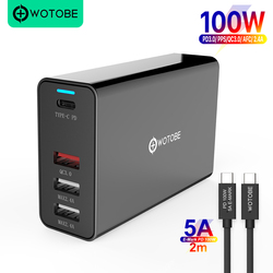 WOTOBE 100W 4port Power Adapter PD100W/65W/45W/18W QC4.0/PPS Charger 5A E-MARK USB-C cable For USB-C Laptops MacBookRro iPhone11