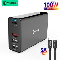 Wotobe 100w 4 portas adaptador de alimentação pd100w/65w/45w/18w qc4.0/pps carregador 5a E-MARK USB-C cabo para USB-C laptops macbookrro iphone11