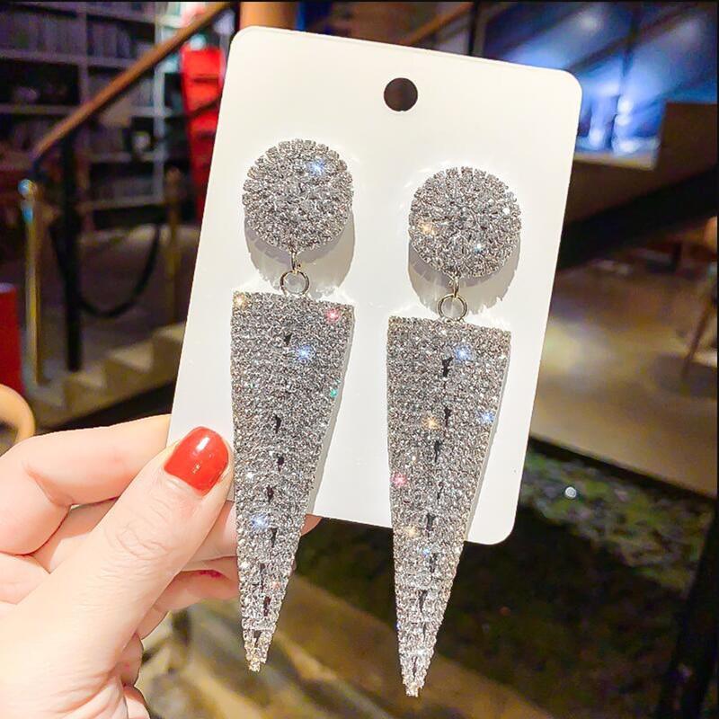 Wedding Jewelry Big Earrings For Women Geometric Triangle Metal Crystal Drop Dangle Earrings Fashion Party Earrings