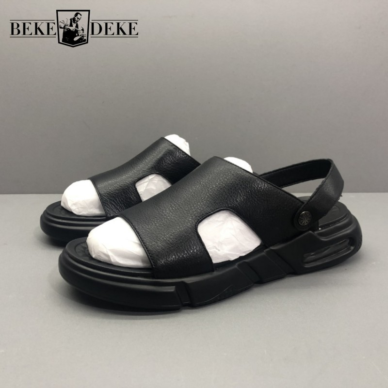 Summer Mens Platform Beach Sandals Genuine Leather Flats Slippers Open Toes Hollow Out Leisure Outside Sandals Gladiator Shoes
