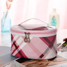 2019 New Plaid  Cosmetic Bag Necessaire Travel Organizer Make up Box Toiletry Kit Wash Toilet Bag Large Waterproof Pouch ldajmw new striped men travel cosmetic bag waterproof toiletry bag necessaire wash bag organizer storage pouch