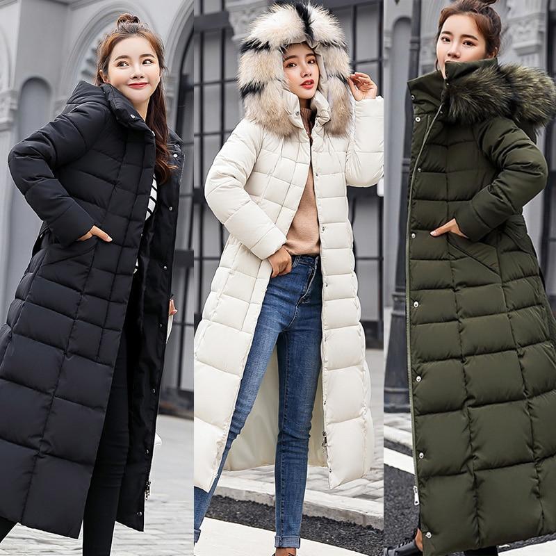 Women Winter Down Coat Jacket Warm Hooded Faux Fur Collar Womens Parkas Casual Plus Size Loose Solid Long Coat Female Overcoat