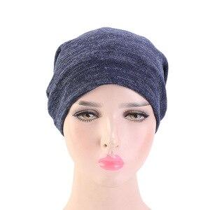 Image 3 - Neue Baumwolle Stretch Muslimischen Turban Beanie Motorhaube Indien Hut Satin Seide Gefüttert Schlaf Kappe Krebs Chemo Kappe Haar Zubehör