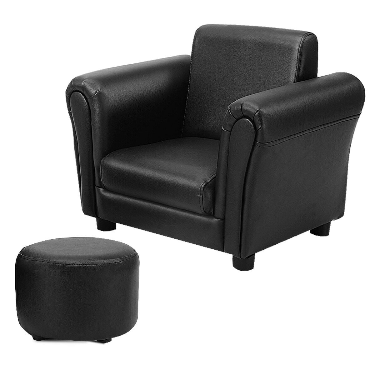Costway Black Kids Sofa Armrest Chair Couch Children Toddler Birthday Gift W/ Ottoman