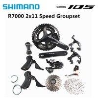 Spor ve Eğlence'ten Bisiklet Vitesi'de SHIMANO 105 R7000 2x11 hız 170/172. 5/175mm 50 34T 52 36T 53 39T yol bisiklet bisiklet seti groupset yükseltme 5800