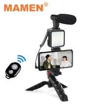Mamen smartphone & câmera vlogging estúdio kits de vídeo tiro fotografia terno com microfone led luz preenchimento mini tripé