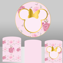 Pink Flower Round Background Circle Photo Backdrop Mouse Head Baby Shower Birthday Party Decoration Table Cylinder Cover 725