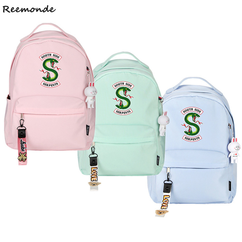 Riverdale School Bags Riverdale Southside Backpack Canvas Bag Girls Mochila Feminina South Side Serpents Riverdale Back Pack