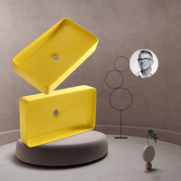 New Matte Yellow Square Above Counter Basin Toilet Art Washbasin Home Ceramic Bathroom Sinks Single Bowl