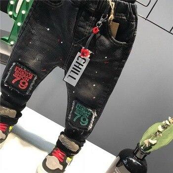 New Fashion Spring Boy Pants Kids Jeans Solid Cotton Mid Elastic Waist Pants Boys Jeans Kids Children Trousers 2-6Y 2