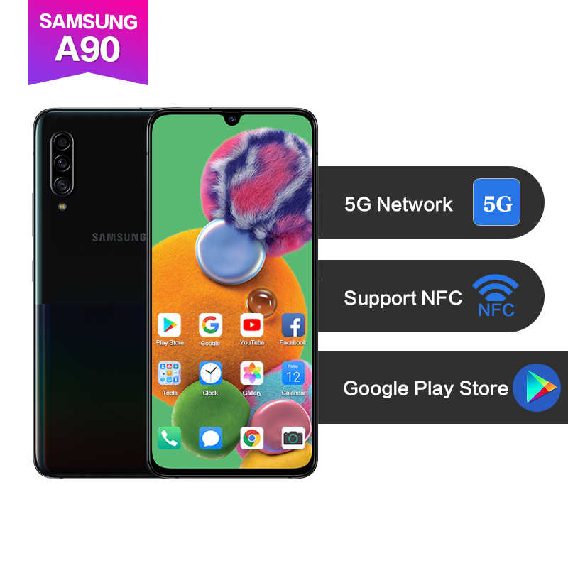 "Samsung Galaxy A90 5G version 6.7 ""Super AMOLED 8x zoom prise en charge NFC Google Playstore Snapdragon 855 4500mAh 48MP identification d'empreintes digitales"
