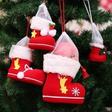 19*19cm Christmas Socks Decorations for Home Mini Lovely Candy Christmas Gift Bag