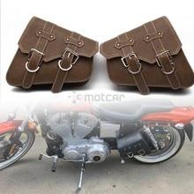 цены New Motorcycle Synthetic Leather Saddle Bag Luggage Brown Side Tool Bag for Honda Yamaha Suzuki Harley Sportster XL 883 XL1200