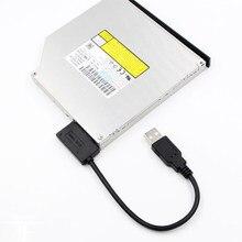 Venda quente 35cm usb adaptador pc 6p 7p cd dvd rom sata para usb 2.0 conversor slimline sata 13 pinos cabo de movimentação para computador portátil