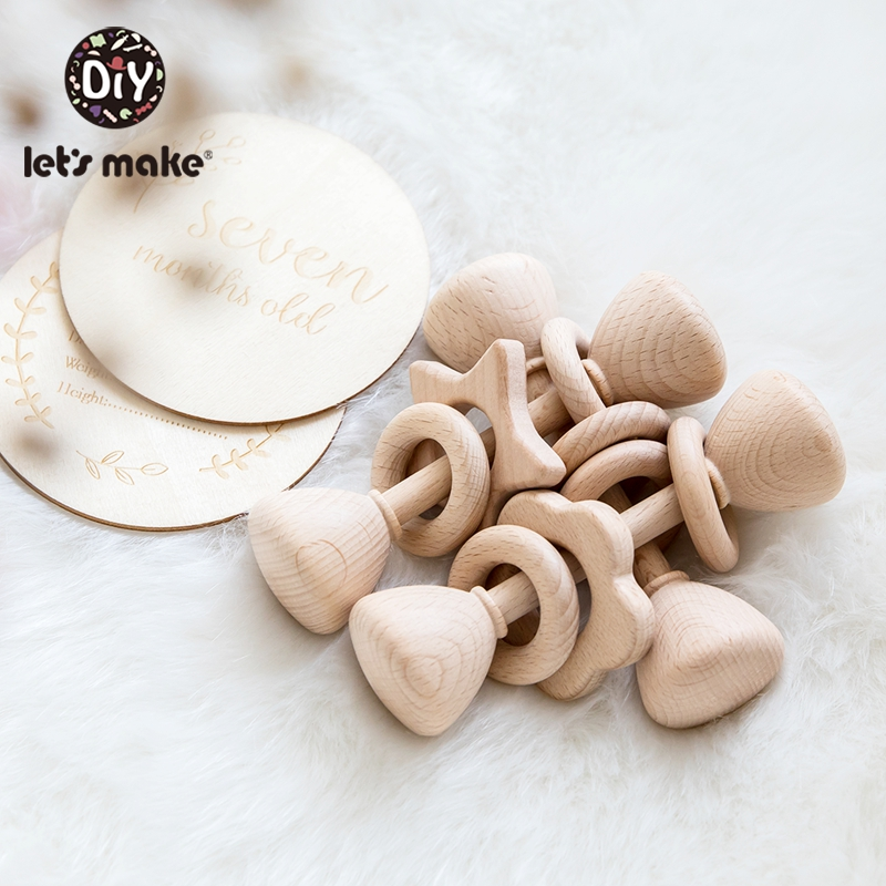 Let'S Make 1pc Cone Type Beech Wooden Baby Rattle Baby Rattles Crib Mobiles Wood Infant Bpa Free Baby Teether Toys Baby Rattle