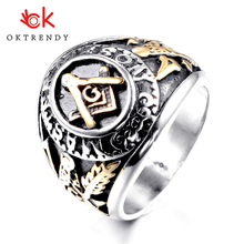 Oktrendy Mens Masonic Compass Square Free Mason Ring Punk Stainless Steel Big Male Party Cool Jewelry silver gold tone