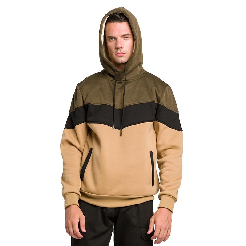 Oversize Hoodies Men Autumn Winter Fashion Fleece Warm Men's Sweatshirts Hooded Man Hoody Jacket Coat Patchwork Male Streetwear