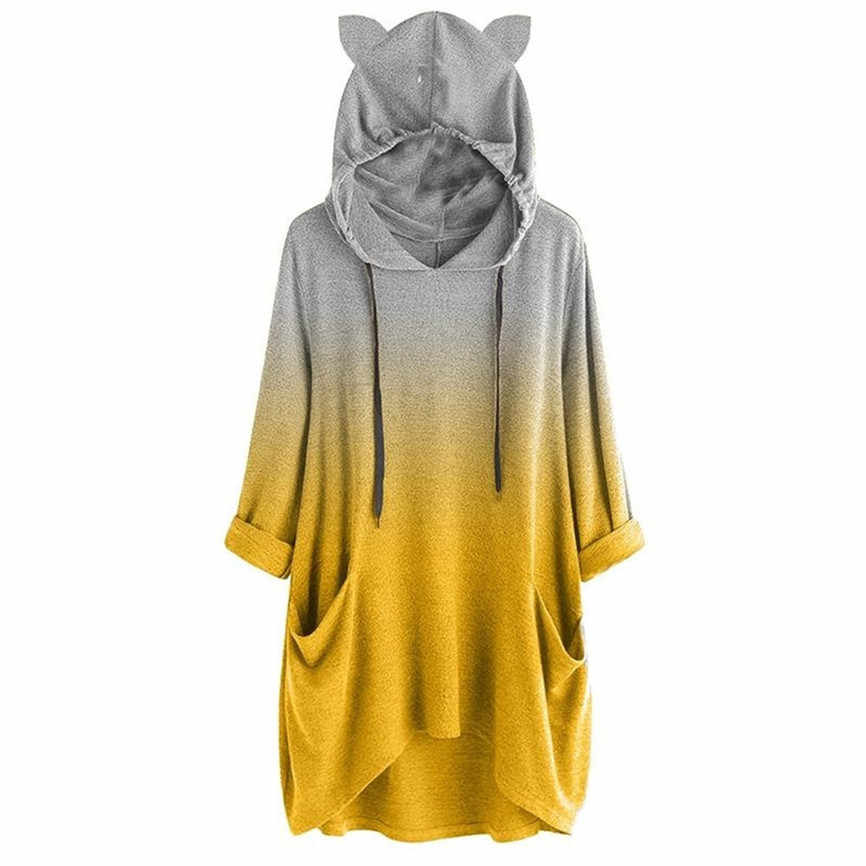 Sudaderas con capucha Para mujeres de manga larga de Color gradiente de gato con capucha sudadera pulóver