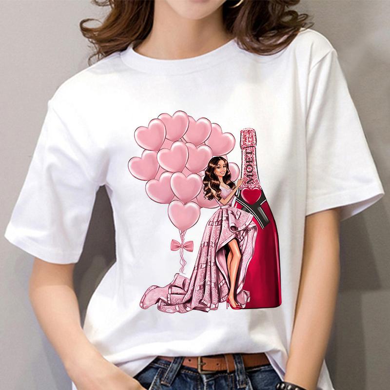 Summer Women T shirt 2020 Fashion beauty champagne pattern Printing Tshirt Harajuku Leisure Streetwear Female Clothing Tshirt