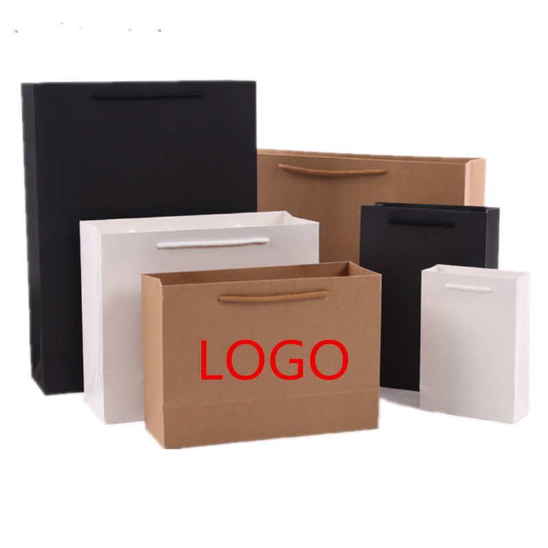 Custom Logo Printed Thick Grossy White Paper Bag 250grams Cardboard Paper Shopping Bags With String