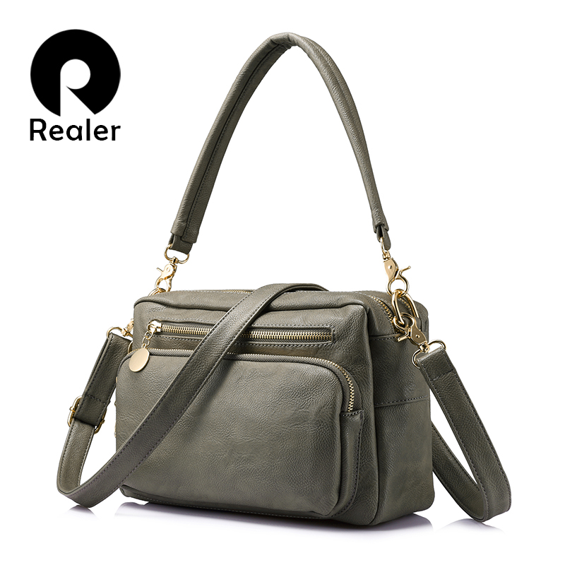 REALER Brand Fashion Women Shoulder Bags Female High Quality Tote Bag Ladies Double Zipper Messenger Bags Women Famous Brands