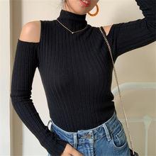 Женский осенне зимний Однотонный свитер с высоким воротником