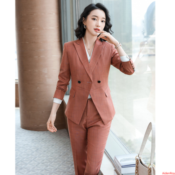 Formal Blazer Women Pant Suits Long Sleeve Plaid Jacket Ladies Work Wear Uniform Business Clothes Work Wear 2 Pieces Suits Sets free shipping work wear set male tooling uniform customize lf 102 long sleeve mechanic jacket and engineer jacket page 2