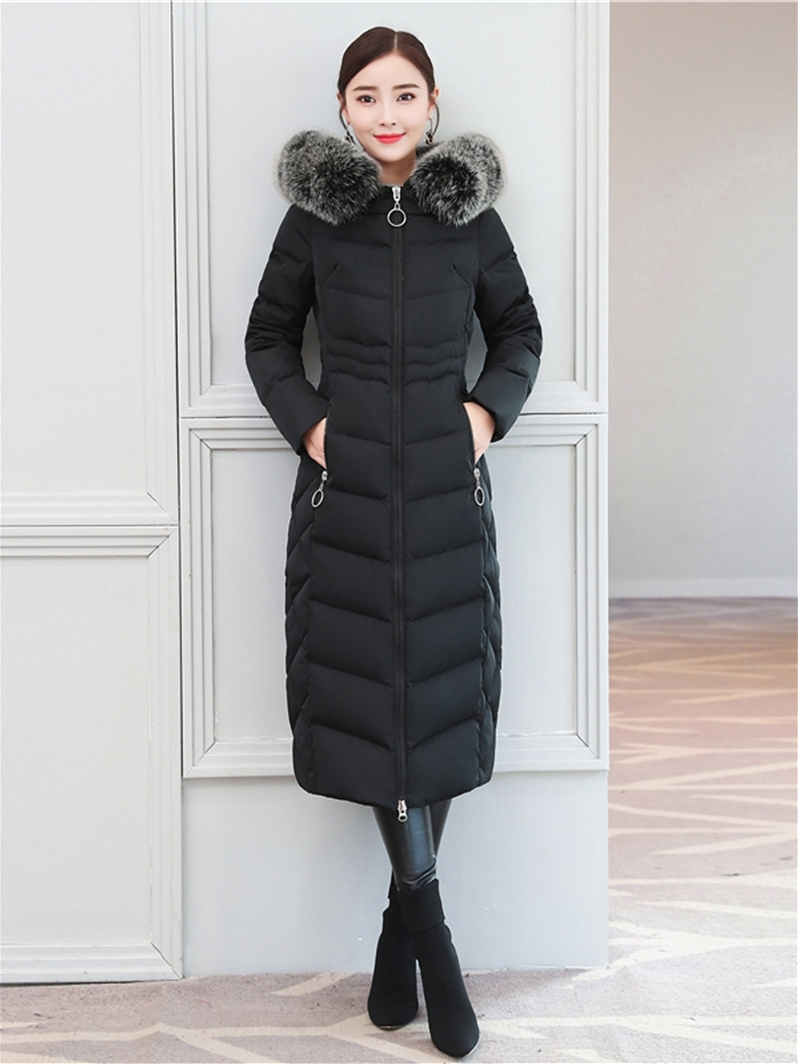 Winter Jacket Women 90% White Duck Down Coat Female Down Parka Real Fox Fur Hooded Thick Warm Long Clothes 2019 12