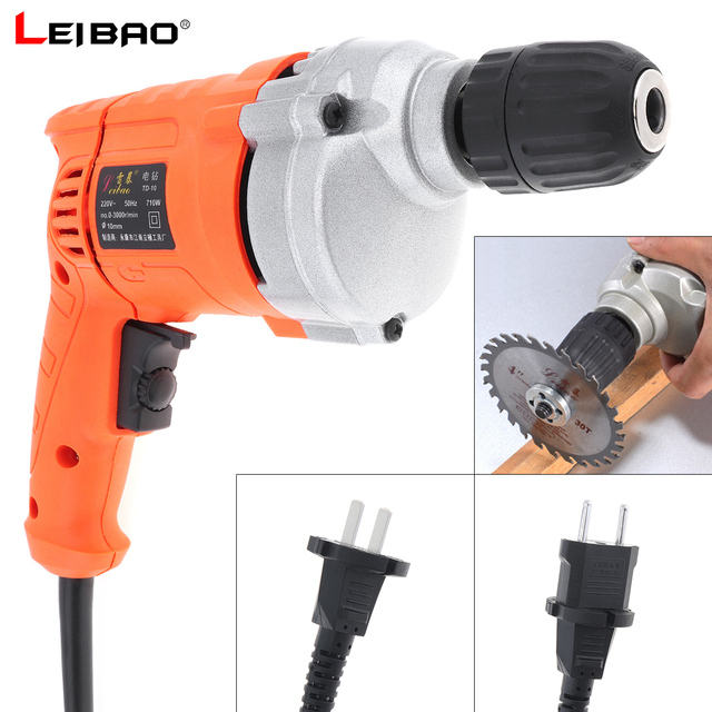 220V 710W High Power Handheld Electric Drill with Rotation Adjustment Switch and 10mm Drill Chuck for Handling Screws