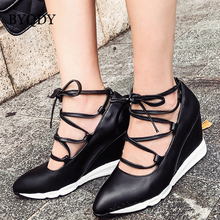 BYQDY Fashion Office Lady Wedges Pumps Pointed Toe Slides Cross Strap Platform Shoes Black Silver Gladiator Size 34-39