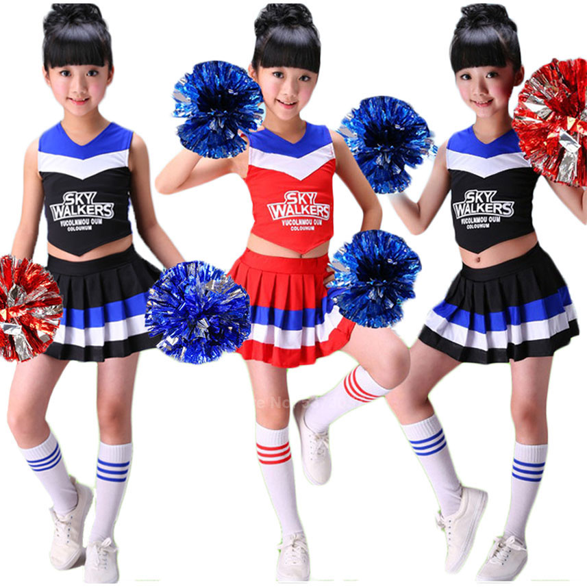 Sleeveless Vest+pleated Skirt 2PCs Cheerleader Costumes For Kids Girls Student School Uniform Cheerleading Dance Performance