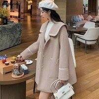 Donna elegante misto lana lunga cappotti tascabili tinta unita colletto alla marinara giacche larghe da ragazzo All-match manica lunga donna adorabile