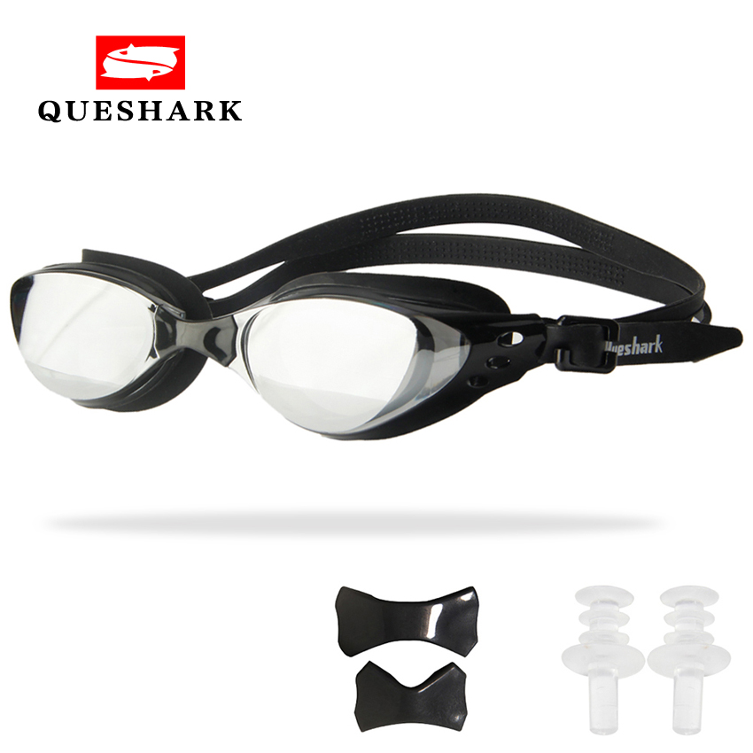 QUESHARK Men Women Professional Electroplate Swimming Glasses Anti Fog UV Protection Swim Goggles Waterproof Swimming Eyewear