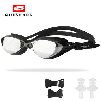 QUESHARK mężczyźni kobiety profesjonalne galwaniczne gogle pływackie Anti Fog ochrona UV gogle pływackie wodoodporne okulary pływackie tanie i dobre opinie CN (pochodzenie) 3 5cm MULTI Pływać Z poliwęglanu Octan EE243