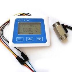 Cyfrowy miernik przepływu czujnik przepływu ze stali nierdzewnej 1/2 cala czujnik temperatury w Przepływomierze od Narzędzia na