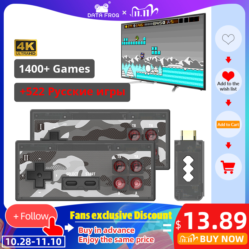 Data Frog Classic Mini Game Console 8 Bit Retro Video Game Console USB Wireless Handheld TV Dual Gamepad HDMI AV Output Toy Gift