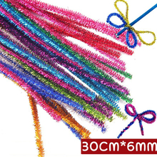 200/300pcs Glitter Chenille Stems Pipe Plush Tinsel Stems Plush Sticks Kids Educational DIY Toys Handmade Art Craft materials 100pcs chenille wire plush chenille stems iron wire diy art craft sticks party decor pipe cleaner 6mm x 12inch assorted colors