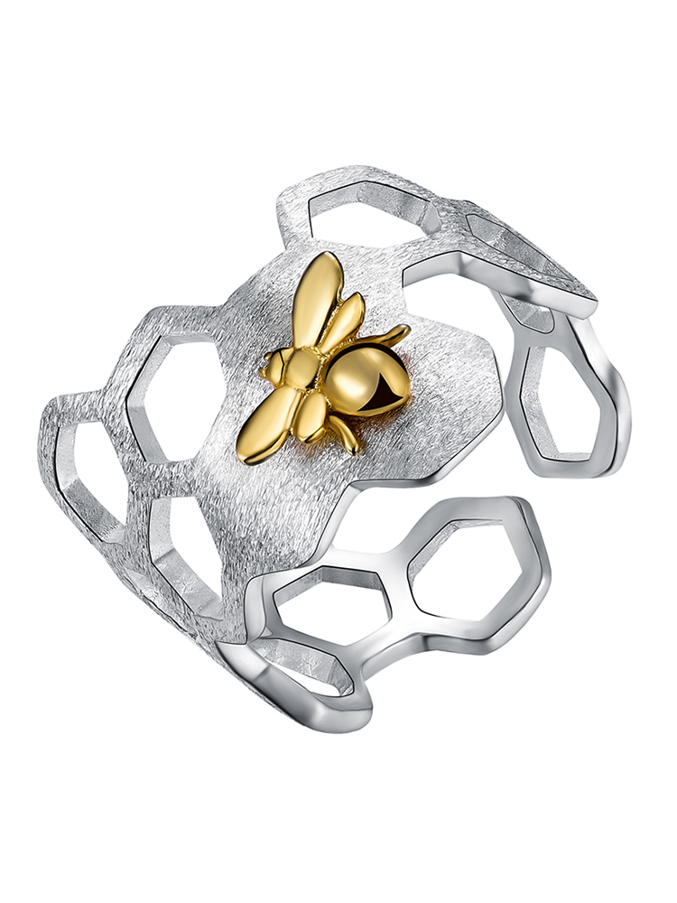 Bee-Rings Fine-Jewelry Honeycomb Home-Guard Lotus Fun 925-Sterling-Silver 18k Gold Natural-Designer