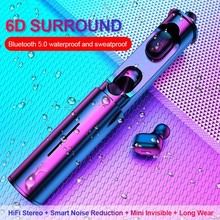 цена T1 Wireless Bluetooth 5.0 Earphone Portable TWS 3D stereo Bluetooth Headsets With Mic HiFi Deep Bass Sound Cordless Dual Headset онлайн в 2017 году