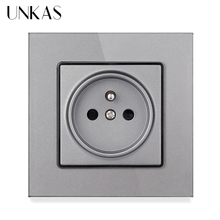 Power-Socket UNKAS Outlet Glass-Panel Crystal Grounded Black Standard-Wall French 16A