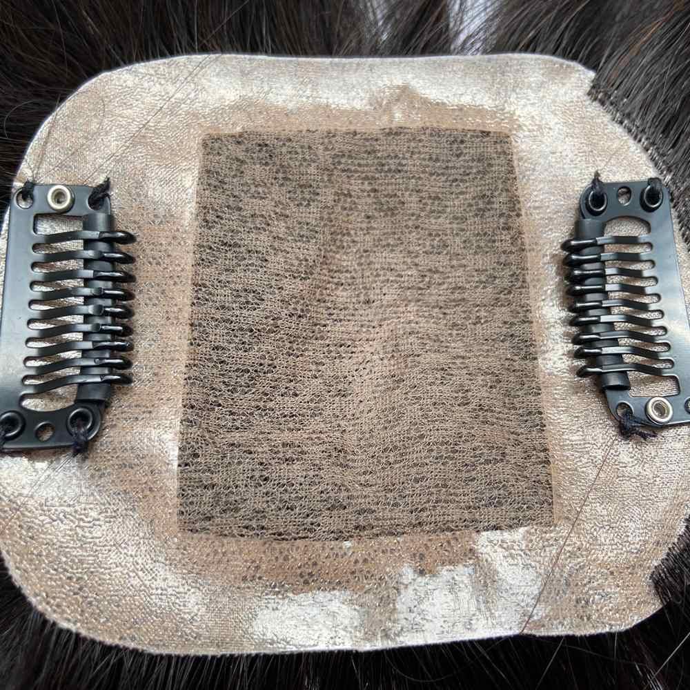 Pelucas K.S 2,75*3,5 ''fino Mono Net Topper peluca base de seda transpirable con Clip en el pelo peluquín Remy peluca 150% densidad