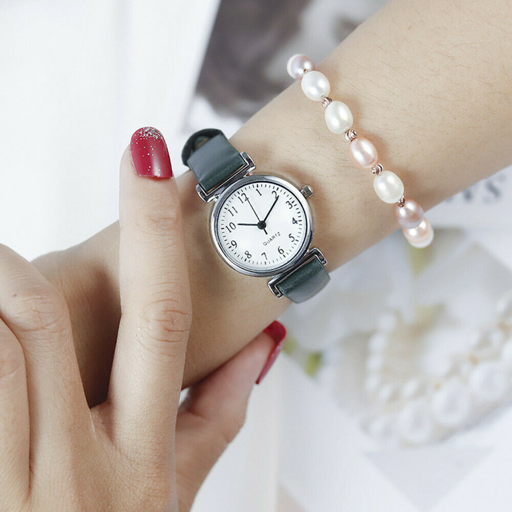 Classic Women's Casual Quartz Leather Band Strap Watch Round Analog Clock Wrist Watches 6