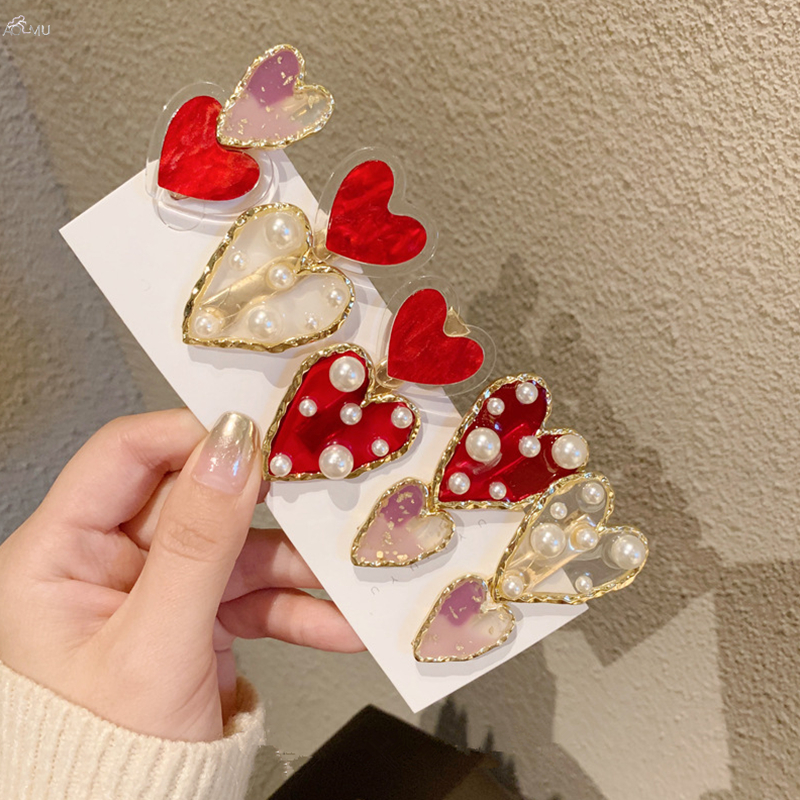 AOMU 1PC Korea New Hairpins Red Heart Pearl Hair Clips For Women Transparent Acrylic Hairclip Hair Accessories New Year Gifts