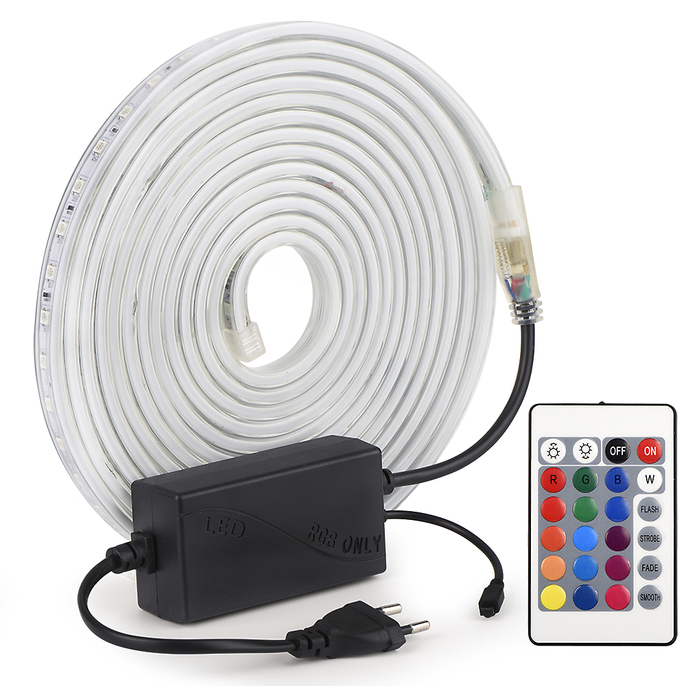 AC220V LED Strip SMD 5050 Flexible Light Waterproof Led Tape LED Light With Power Plug RGB With Remote Dimmable LED Light Strip