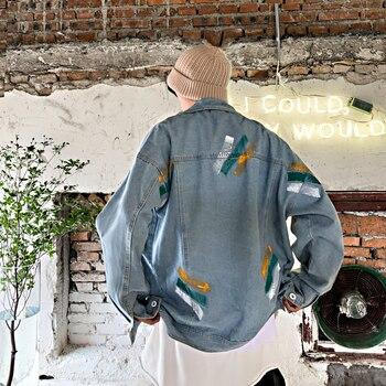 Autumn New Denim Jacket Men Fashion Wash Printing Casual Denim Jacket Man Streetwear Wild Hip Hop Loose Bomber Jacket M-2XL