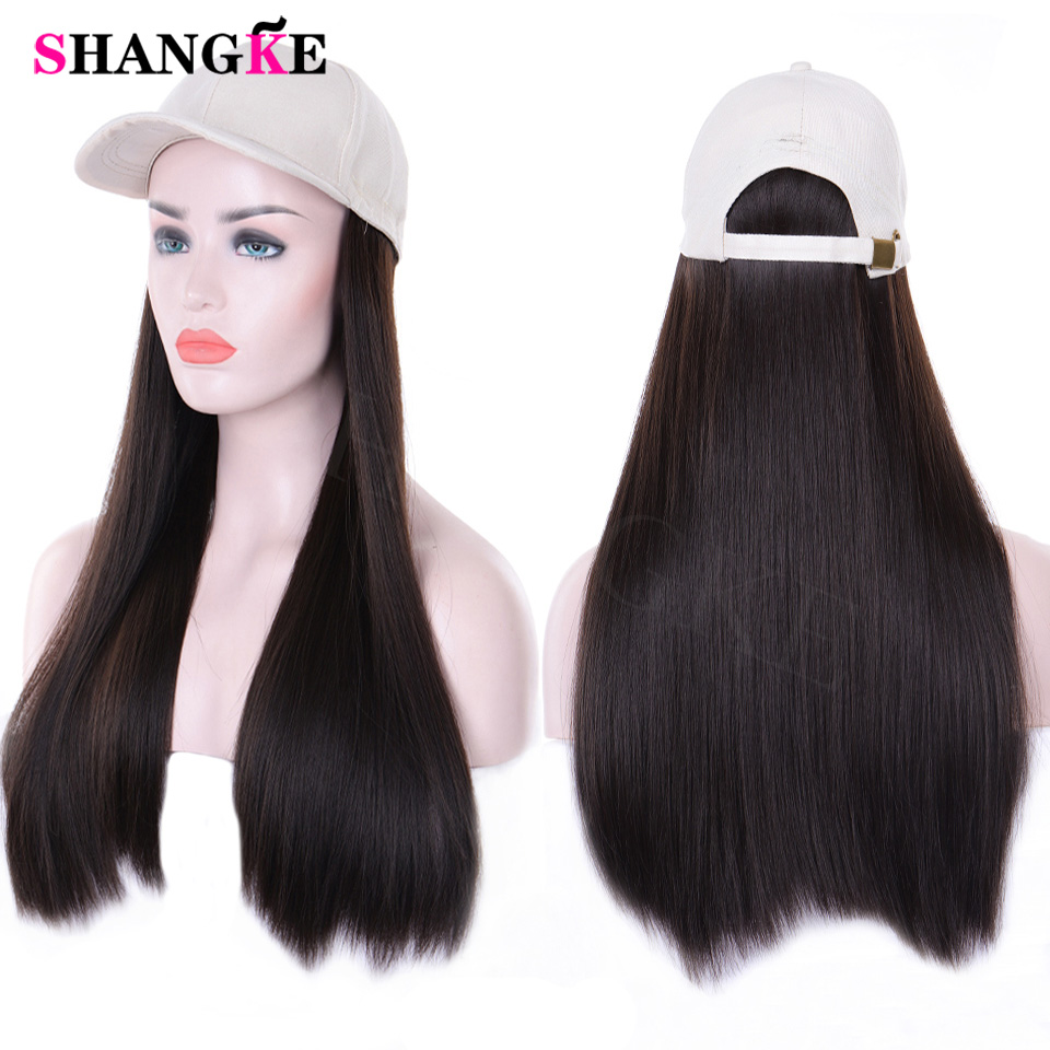 24 Inch Long Straight Hair Hat Wig With For Women Female Heat Resistant Fiber Naturally Connect Synthetic Adjustable Wigs