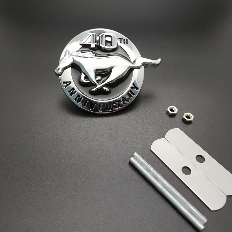 1Pair Metal Black Running Horse Emblem Fender Badge Decal Sticker Ford Mustang