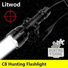 Led el feneri Torch Lanterna işık lambası Litwod şok dayanıklı, sert savunma ampuller C8 T6 kamp avcılık alüminyum siyah 5 8